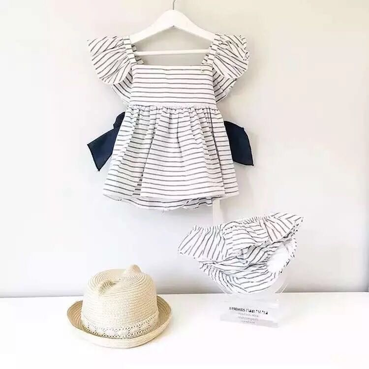 INS New Princess Girl Clothings Sets Stripe Tops ruffles Pants Wedding Party Costumes Elegant Sweet Girl