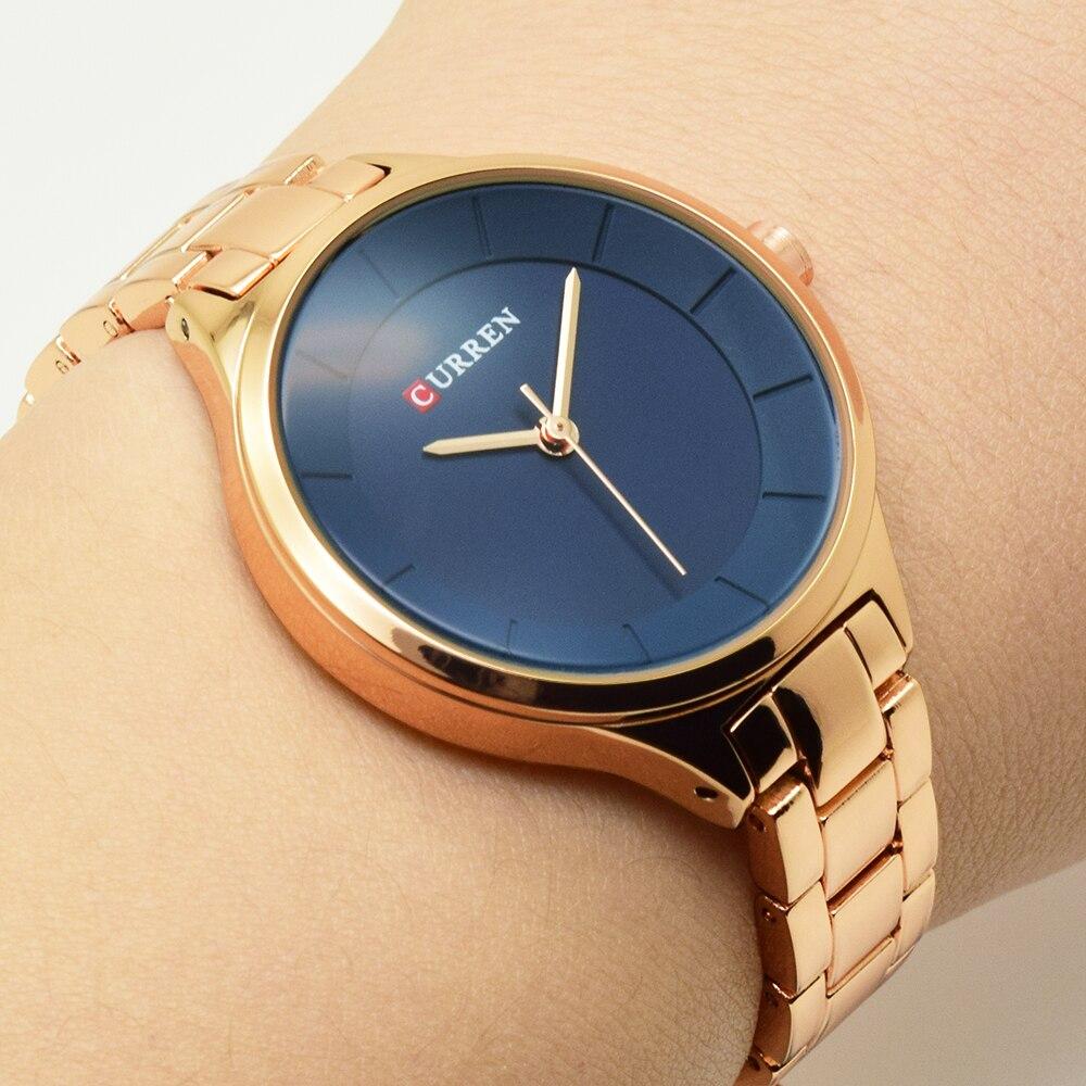 Curren rosa ouro relógio feminino relógios de aço inoxidável senhoras feminino relógio feminino 2018 luxo cor ouro moda relogio feminino