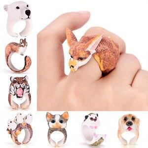 Cute Cartoon Animal Bend Ring Funny Cat Dog Rabbit Bird Fox Bear Tiger Finger Rings 3D Cuff Open Adjusted Rings(China)
