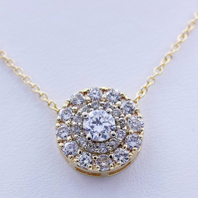 AEAW Real 10K White And Yellow Gold  Lab Grown 3mm Moissanite Diamond Pendant with Chian Necklace For Women 2