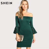 SHEIN Christmas Evening Green Dress Off The Shoulder Sexy Club Girls Dress Ruffle Sleeve Lace Bodycon