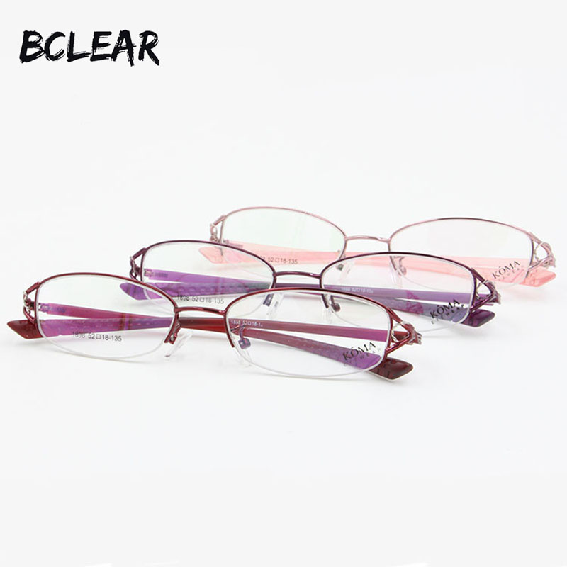 BCLEAR Half Rim Women Semi-Rimless Brýle Alloy Metal Optical Frame Flexibilní TR90 Nohy Slim Ultralight Female Spectacle 2018