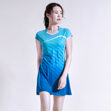 Spring and Summer New Badminton Wear Dress Set Quick-drying Slim Tennis Suit Sportswear with Safety Shorts