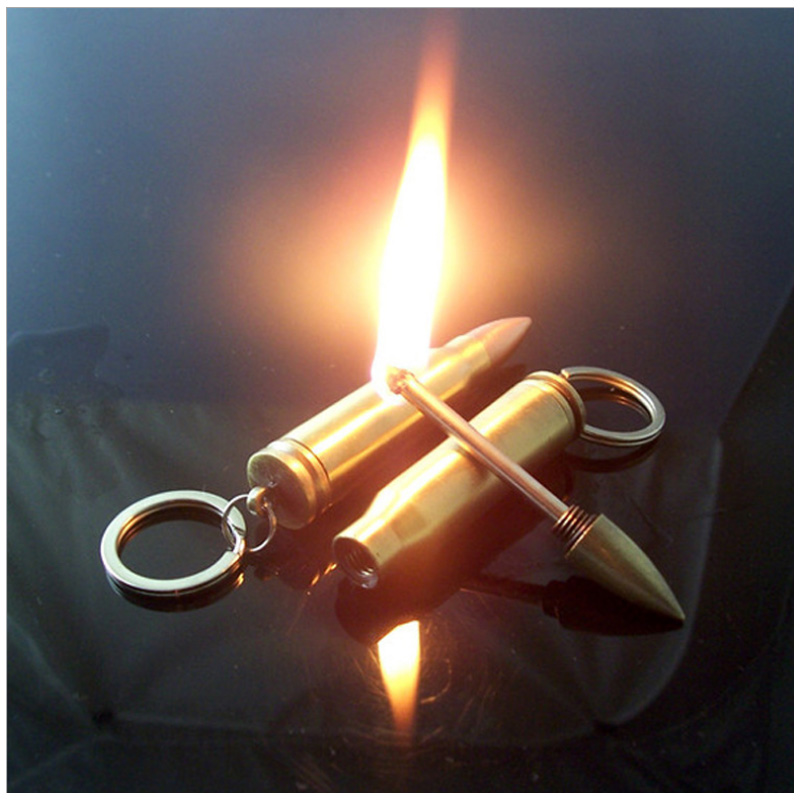 Hot Creative Mini Bullet Butane Flame Lighter Metal Torch Lighter Novelty Gadget Military Addictive Gift Key Accessories NO GAS