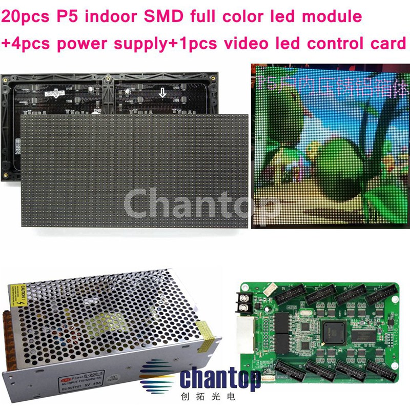 free shipping 20PCS P5 320*160mm SMD RGB Indoor led video display module +1pc control card+4pc power supply for advertising sign clear acrylic a3a4a5a6 sign display paper card label advertising holders horizontal t stands by magnet sucked on desktop 2pcs