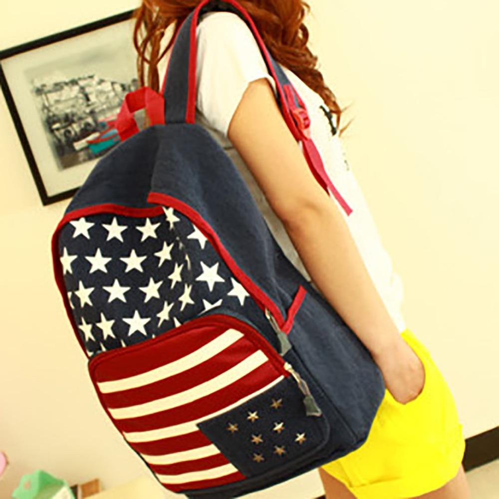 MOLAVE Backpacks high quality Fashion Girls American flag Rivet Backpack Leisure School Travel backpack women mar29