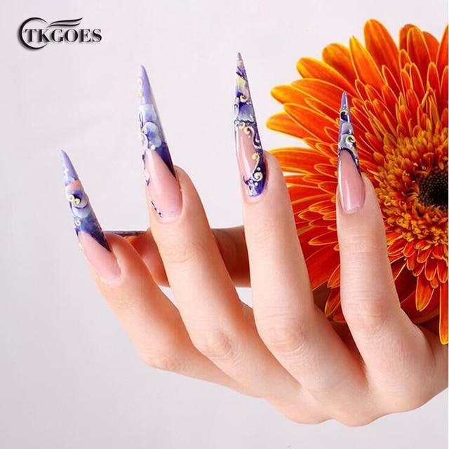 Tkgoes 500pcs Pack Fake Salon Nails Stiletto Pointed Sharp Acrylic Plastic Nail Tips False