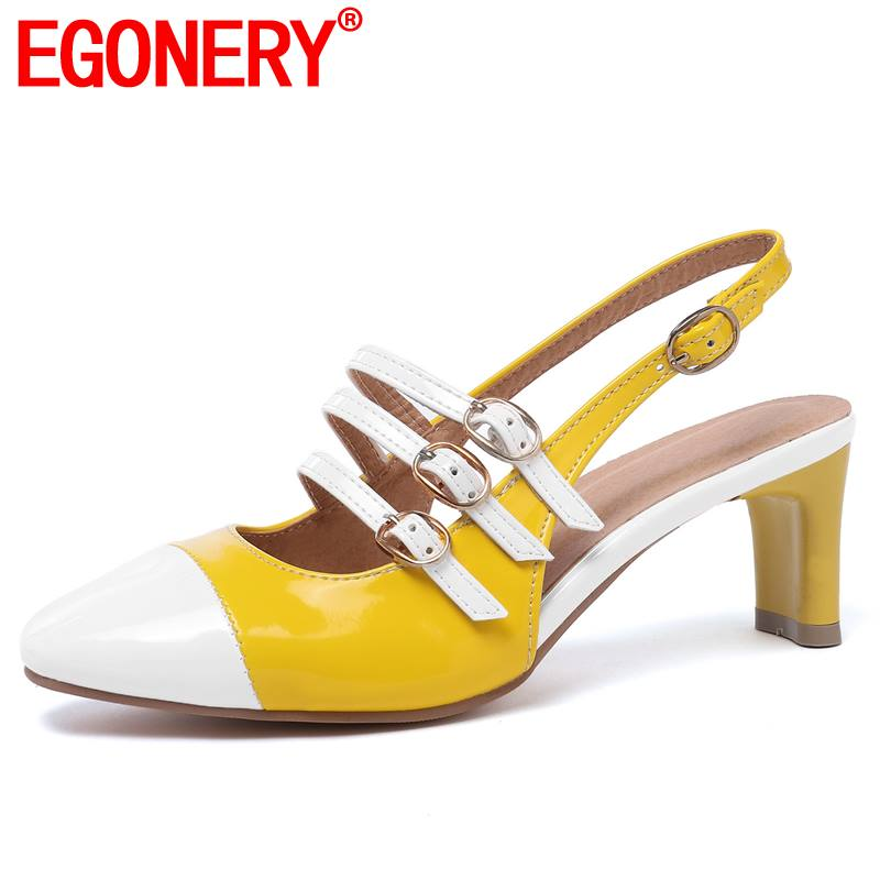 EGONERY woman office pumps black red yellow white summer 5.5cm mid heels slingbacks shoes buckle strap retro mary Jane shoesEGONERY woman office pumps black red yellow white summer 5.5cm mid heels slingbacks shoes buckle strap retro mary Jane shoes