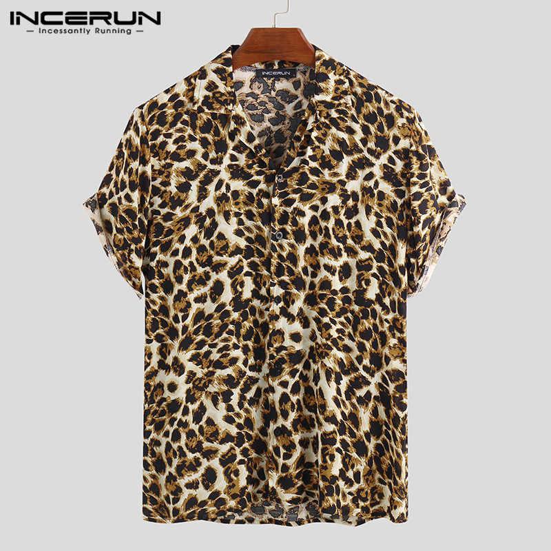 INCERUN Fashion Shirt Men Leopard Print Short Sleeve Lapel Blouse Streetwear Casual Hawaiian Summer Shirts Camisas Hombre 2020