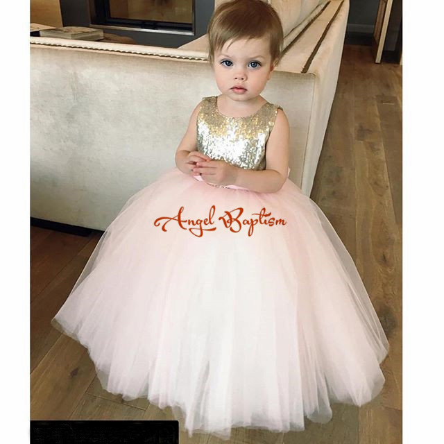 Golden Sequin Flower Girl Dresses for kids evening Puffy Ball Gowns first communion dresses for girls pageant dresses with bow