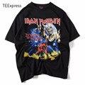 Camiseta de moda de Verano Hombres Iron Maiden 3D Estilo Streetwear Camiseta de Los Hombres 100% Algodón Casual Manga Corta Top Tees