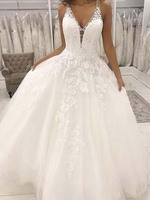 Lace Wedding Gowns Ball Gown V Neck Open Back White Lace Long Wedding Dresses Appliques lace Floor Length Bridal Gown
