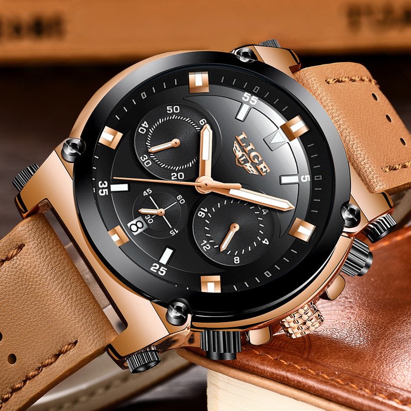 LIGE Mens Sports Quartz Watches Men Dress Business Watch Fashion Casual Big Dial Waterproof Military Brown Leather Male Clock