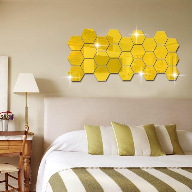 12pcs Hexagon Mirror Surface Acrylic Creative DIY Bedroom ...
