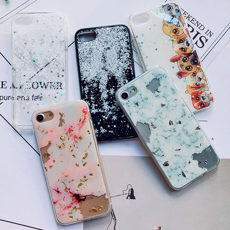 Luxury Gold Foil Bling Marble Phone Cases For iPhone X 10 Cover Hole Soft TPU Cover For iPhone 7 8 6 6s Plus Glitter Case Coque (2)