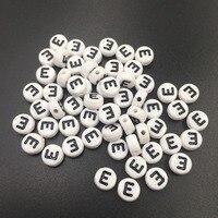 Frete Grátis Única Letra E Impressão Acrílico Flat Round Coin Beads 4*7 MM 3600 PCS Jóias DIY Pulseira alfabeto Spacer Beads
