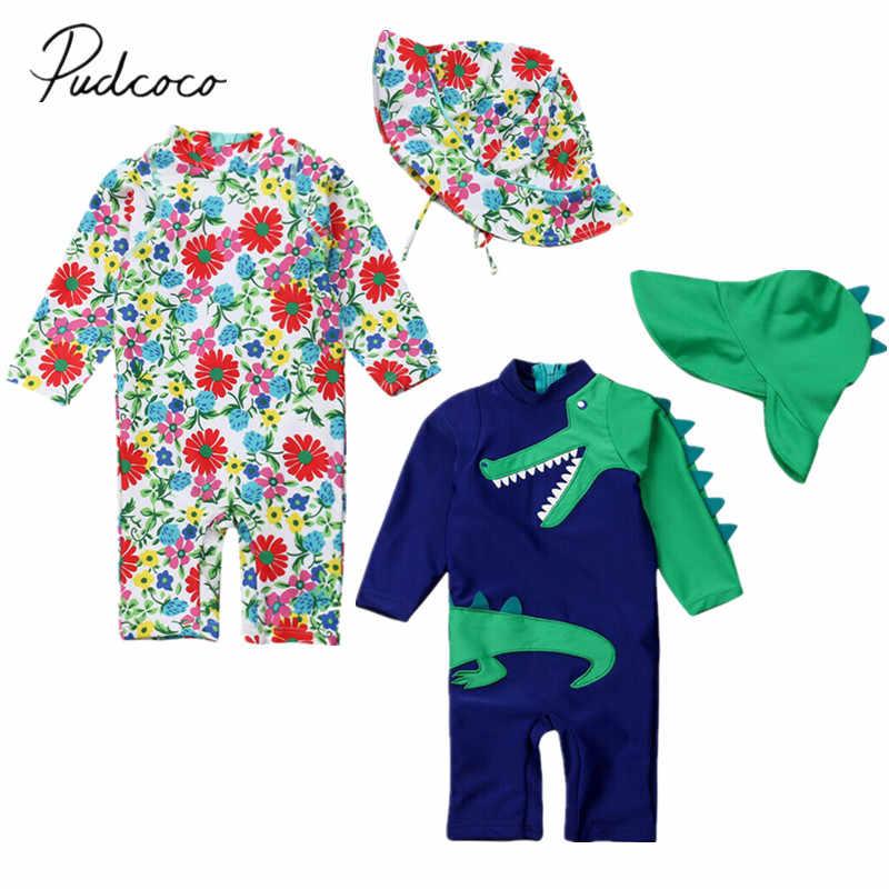 2019 Musim Panas Balita Bayi Anak Gadis Anak Laki-laki Dinosaurus Bunga Baju Renang Surfing Baju Renang K Berlaku Topi 2 Pcs Berjemur Melindungi Beachwear 6 m-5 T