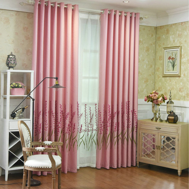 Elegant Flora linen Blackout Curtain and Embroidered Tulle for ...