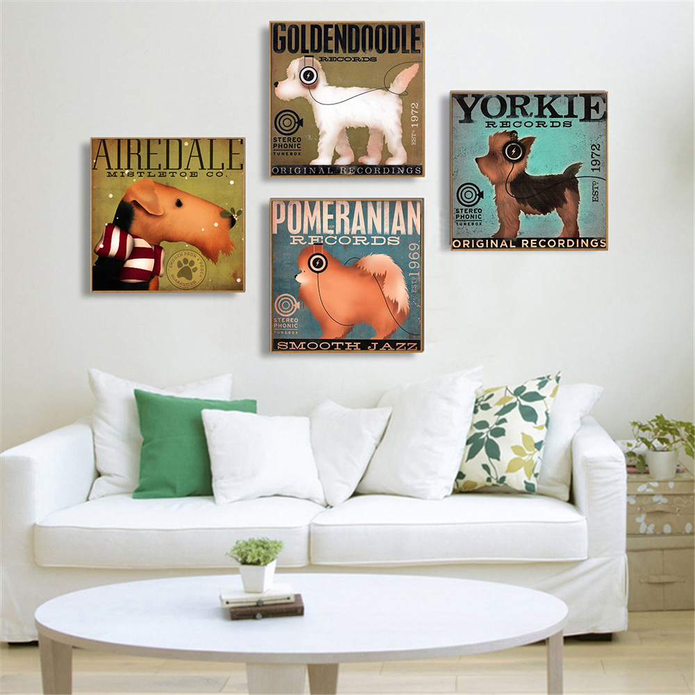 Us 4 94 10 Off Hanging Wall Art Pictures Music Dog Drinking Animals Posters And Prints Kitchen Decor Wall Painting Home Decor Curdros Retro In