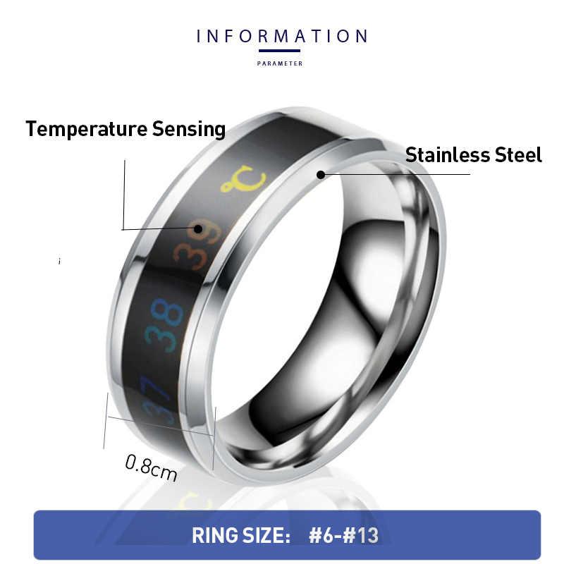Tanggujin แหวนผู้ชายสแตนเลสอัจฉริยะอุณหภูมิ Sensing คู่แหวนคนรักแหวนเครื่องประดับ