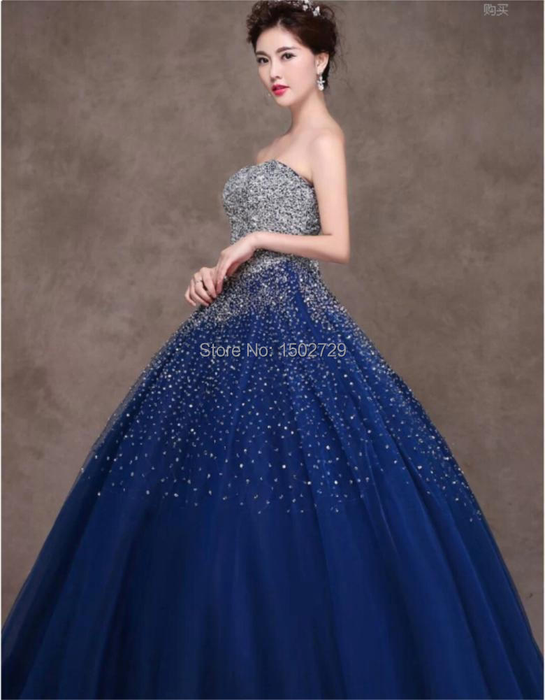 Royal Blue Ball Gown Strapless Crystal Quinceanera Dresses ...