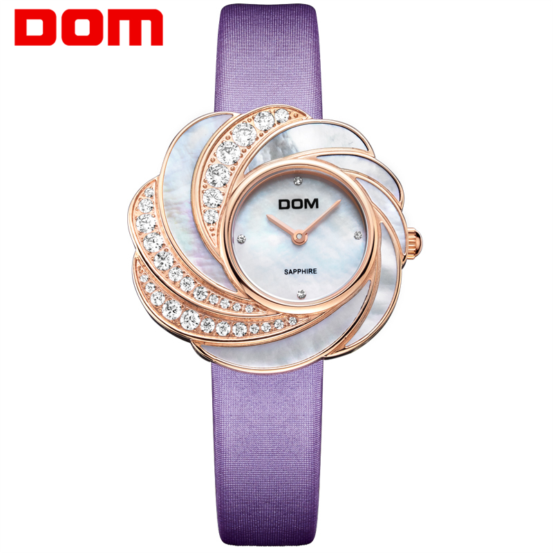 DOM quartz luxury brandwatches waterproof style leather sapphire crystal watch women G-655 цена