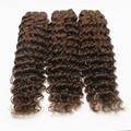 #4 Chocolate Brown Weave Bundles 3pcs/Lot Deep Wave Brazilian Human Virgin Hair 7A Grade Remy Hair Brown Weft Extension