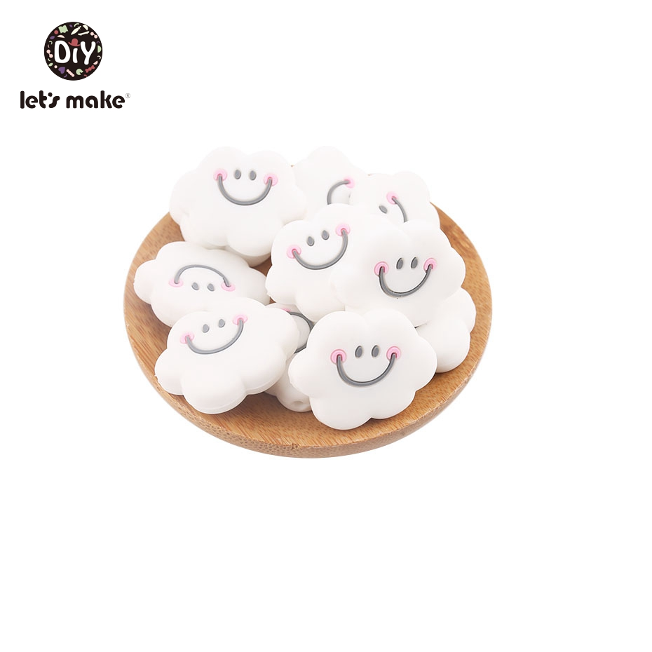 Let's Make 20PCS Silicone Cartoon Cloud Smiley Face Teething Beads Newest Hot Popular DIY Nursing Beads Food Grade Baby Teethers тарелка раскраска food face дешево