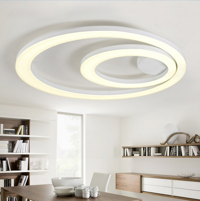 White Acrylic LED Ceiling Light Fixture Flush Mount Lamp Restaurant Dining  Room Foyer Kitchen Bedroom Hotel