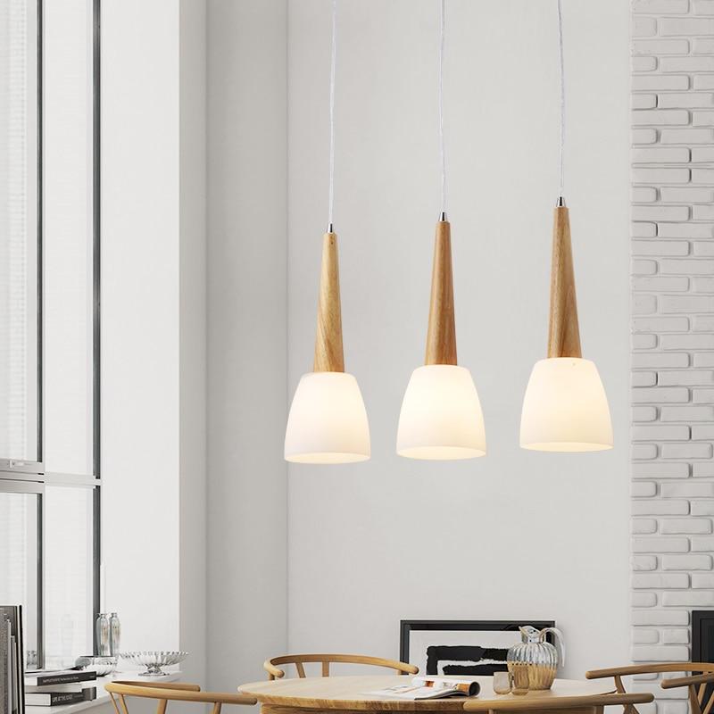 Modern Led Pendant Lights For Dining Room Gl Wood E27 Indoor Hanging Lamps Lighting Fixtures Home Decoration Design