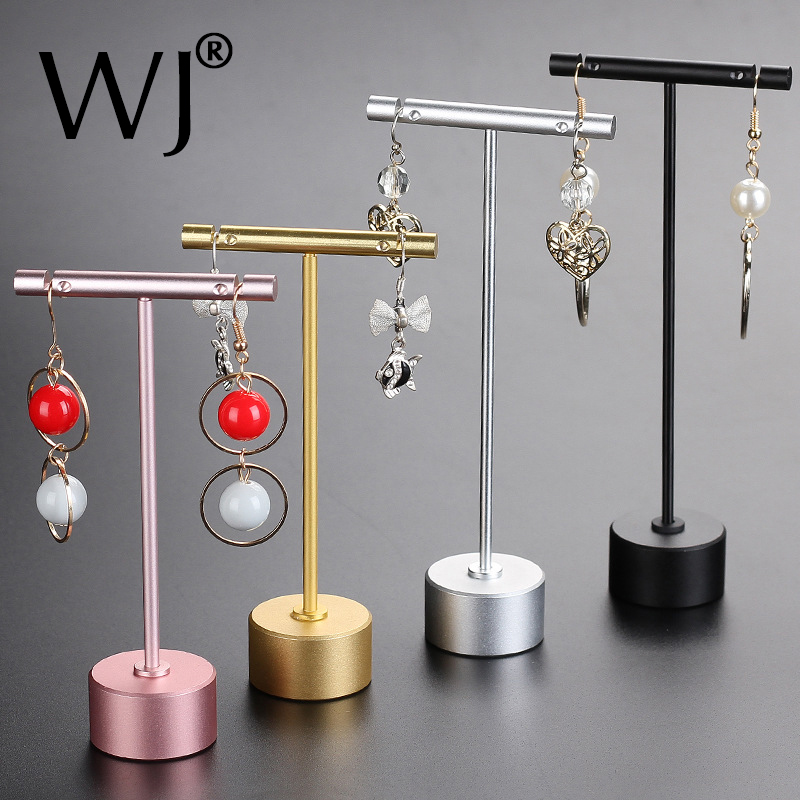 Rose Gold Plated Metal Tabletop Jewelry T Stand Display Earrings Ornament Holder Rack Ear Stud Hanger Stand Organizer Round Base