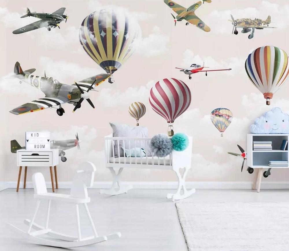 [Auto adhésif] 3D avion ballon à Air chaud 2 papier peint mural impression murale stickers muraux|Papiers peints| |  -