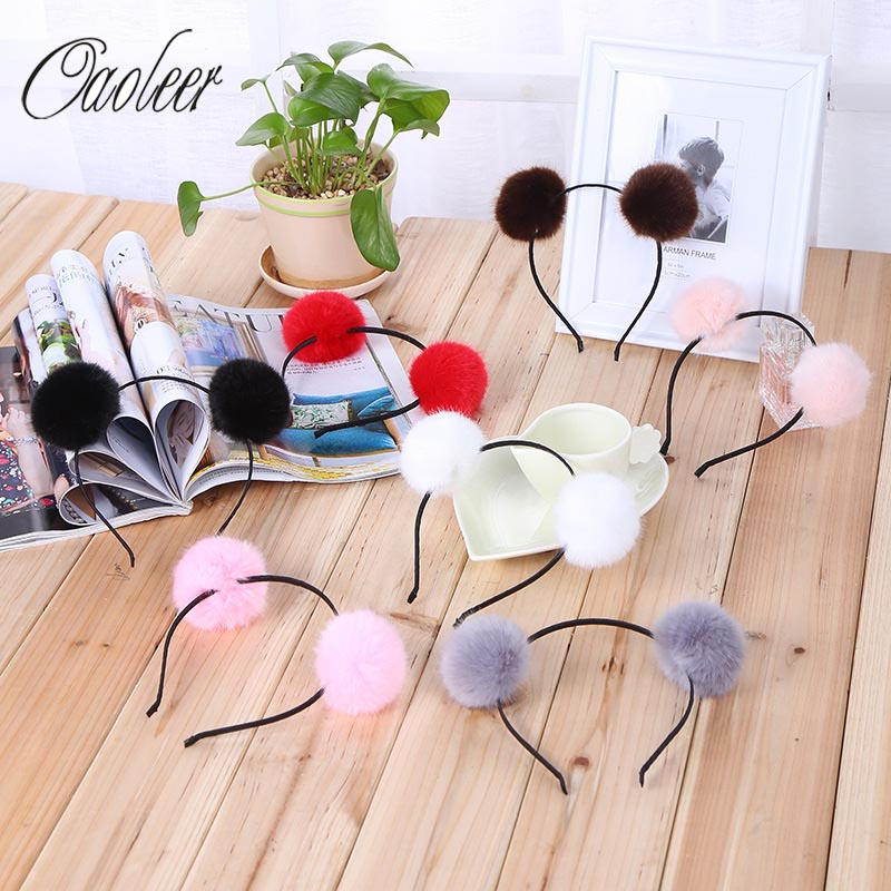 где купить 7pcs/lot Cute Candy Color Pom Hairbands Headband Hoop Cute Ears Sweet Girls Hairband Tiara Hair Accessories For Kids по лучшей цене