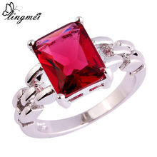 lingmei $0.99 Big Promotion Wholesale Red Cubic Zirconia Silver Color Ring Size 6 7 8 9 10 11 Women Popular Beautiful Jewelry(China)