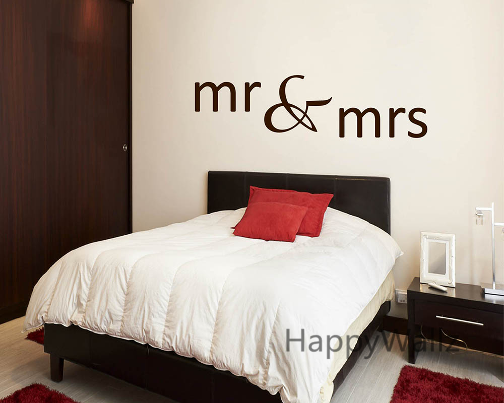 Mr U0026 Mrs Love Quotes Wall Sticker DIY Decorative Mr U0026 Mrs Love Quotes Vinyl  Wall Decal Bedroom Wall Decor Custom Colors Q146 In Wall Stickers From Home  ...