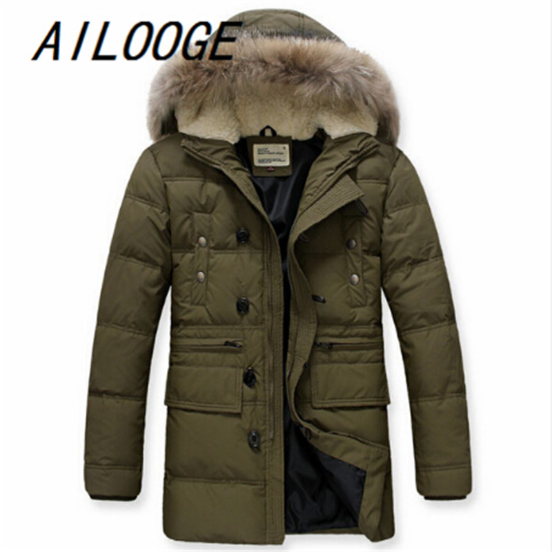 Free Shipping 2015 Men White Duck Down Jackets Mens Brand Winter Down Coat Jackets With Faux Fur Hood Plus Size