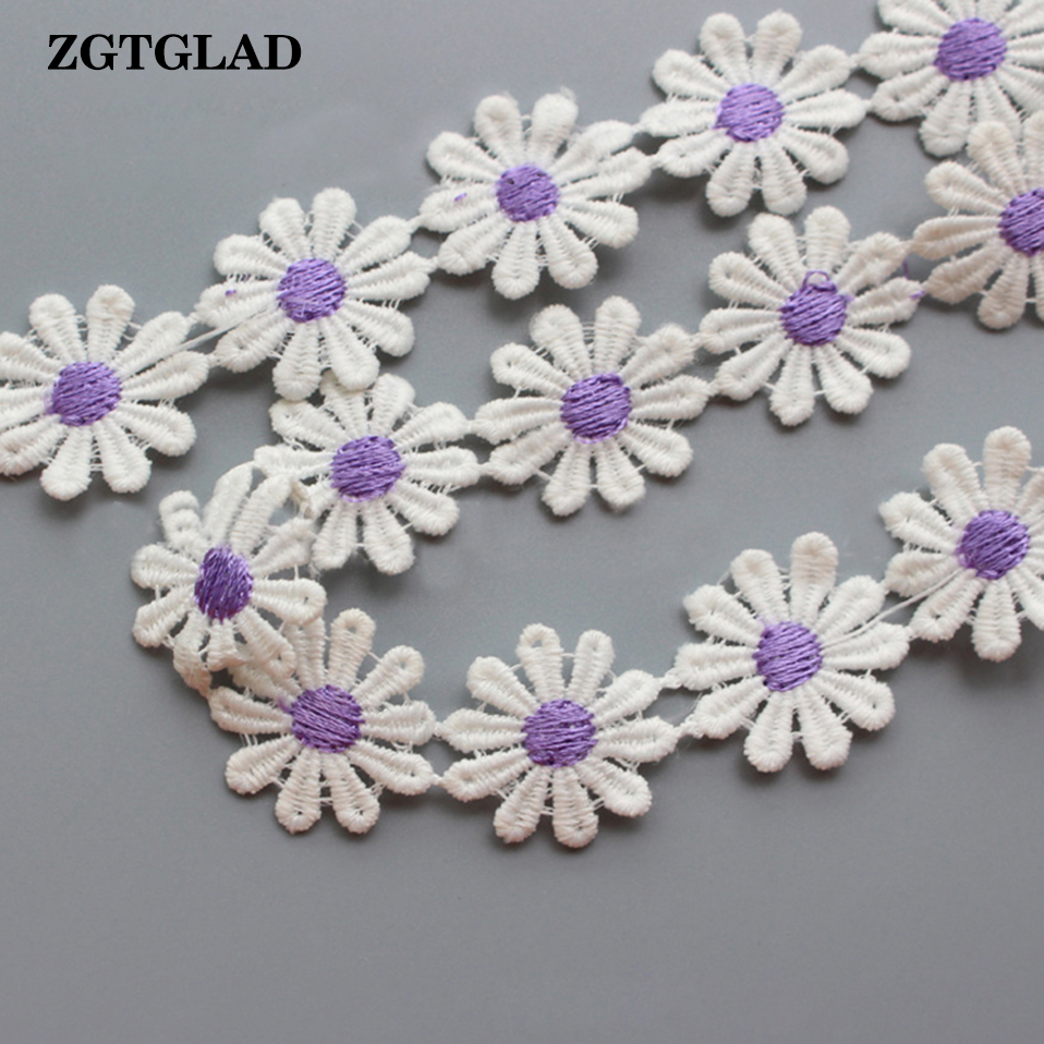 ZGTGLAD 1M Sun Flower Cotton Fabric DIY Craft Ribbon Sewing Applique Satin Tape Supplies Hot Sale