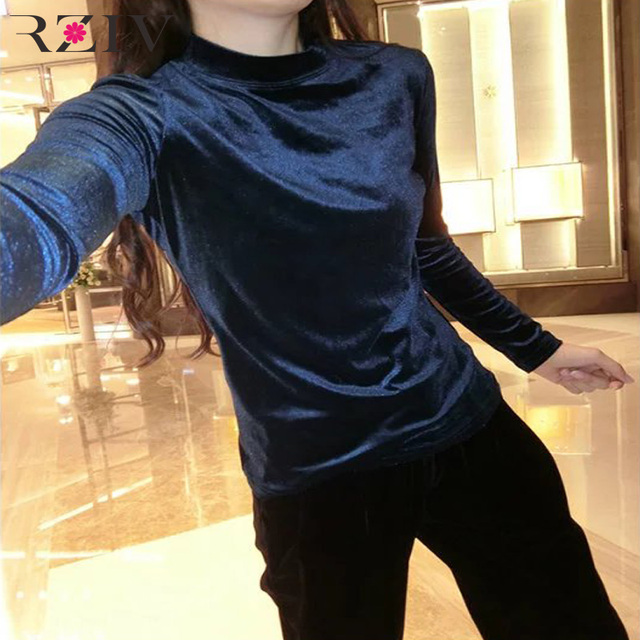 RZIV 2016 Women's leisure solid color long-sleeved velvet T-shirt