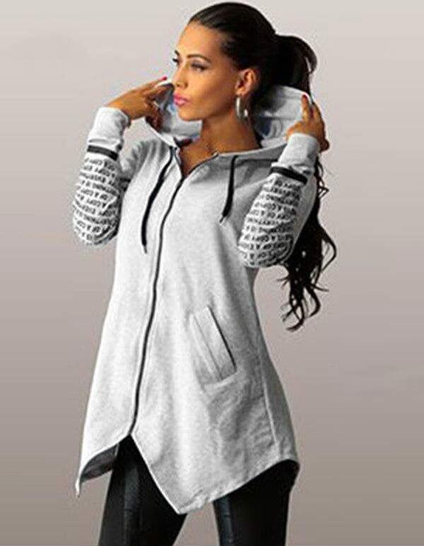 2016 autunno inverno donne Con Cappuccio felpe lettera stampa pullover harajuku plus size chiusura lampo irregolare top sportswear