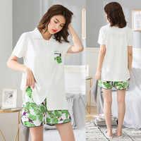 Moda casual oversize delle donne di estate degli indumenti da notte 2 pz manica corta pigiama di cotone homewear femminile più il formato vestito da notte