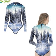 Snow Forest Scene Women Monokinis One Piece Diving Swimwear High Neck Long  Sleeve Bathing Suit White Snow Surf Swimsuit Zipper ab7c10c4d