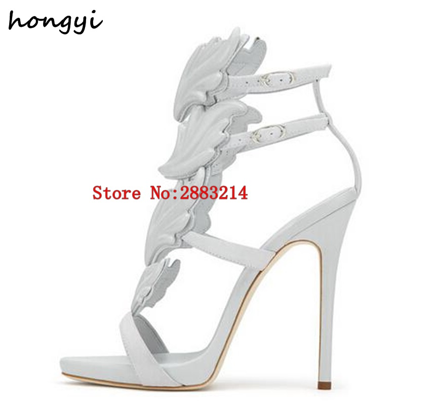 a17a7e088983 Best selling Trendy Lady Angel Wings Black Yellow High Heels Sandals  Gladiator Rome Women Leaf Leather Party Dress Pumps Shoes-in High Heels  from Shoes on ...