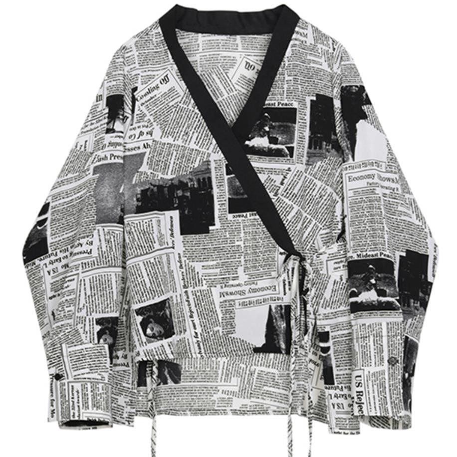 2019 japon style journal imprimé femmes Kimono Blouse chemise lâche col en V à manches longues Blouses hauts chemises décontractées sauvages H45