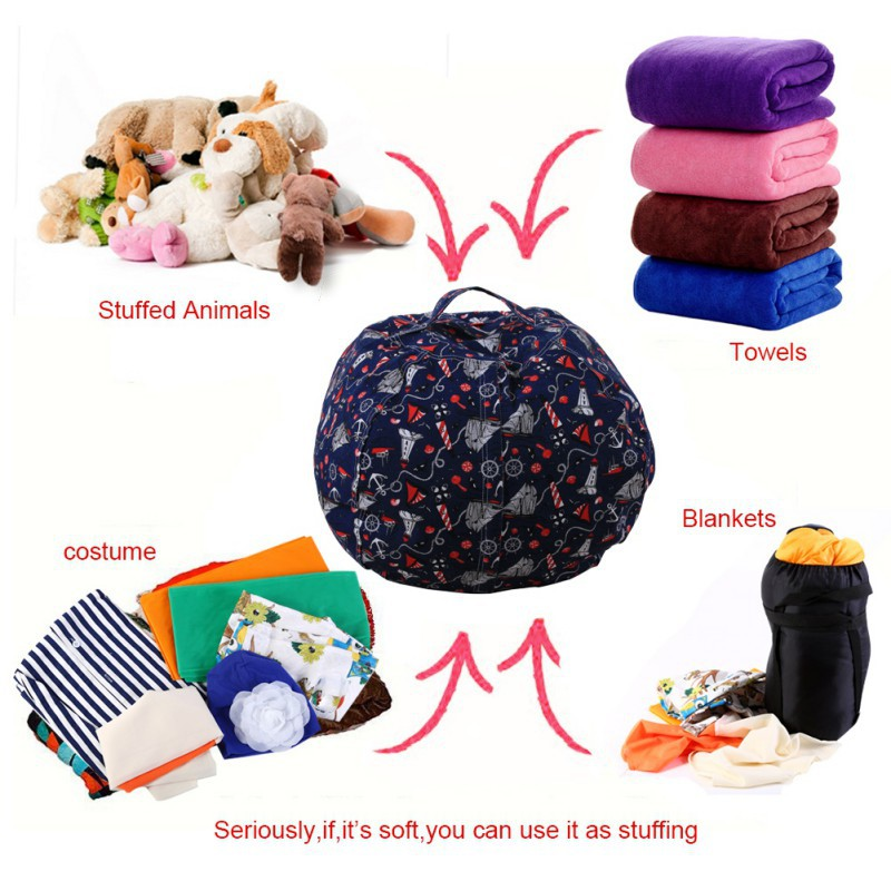 Stuffable Animal Printed Toys Storage Bean Bag Stuffed Children Plush Toy Organizer Creative Supplies2049