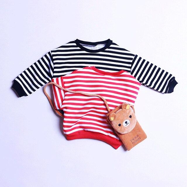 Горячие продажи Девочка полосатый Майка Дети теплый мода т рубашка с бархатной Осенью Мальчиков красный черный досуг толстовки для 1-3 лет