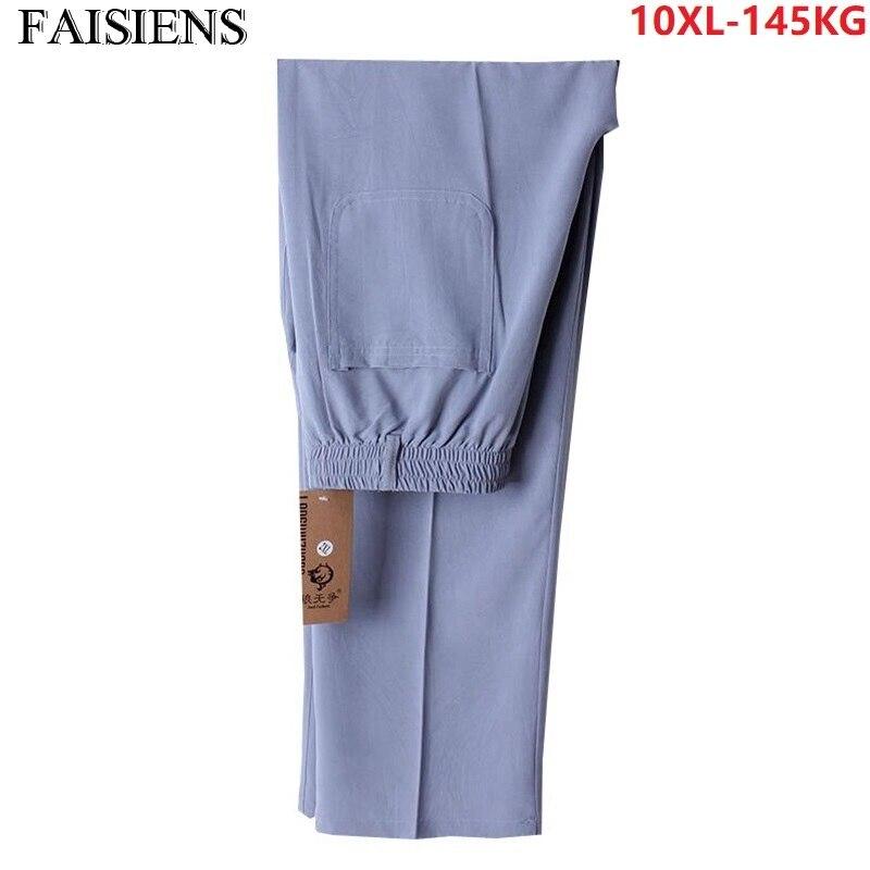 Plus Size Big 7XL 8XL Summer Men Home Simple Pants Thin Breathable 9XL 10XL Man Father Pants 52 Stretch Elastic Waist Trousers