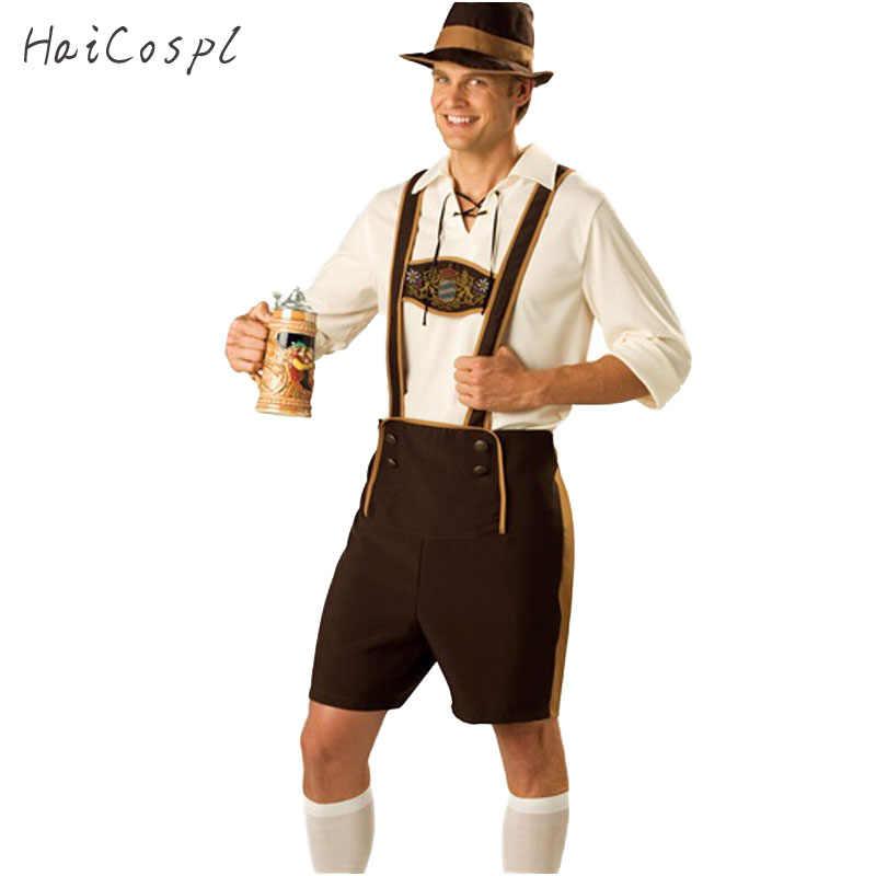 Mens Oktoberfest เครื่องแต่งกายชุดเยอรมัน Oktoberfest เทศกาลเบียร์คอสเพลย์ผู้ใหญ่ Plus ขนาดฮาโลวีนเครื่องแต่งกายหมวกสั้น