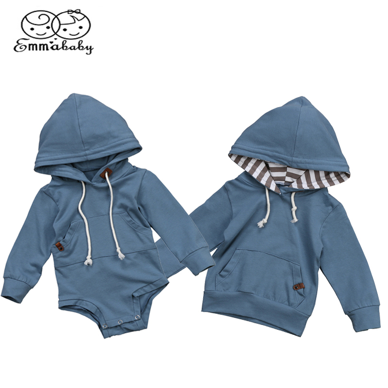 Emmababy Autumn Baby Boys Brother Sky Blue Hoodie Sweatshirt Hooded Tops Romper Jumpsuit Clothes