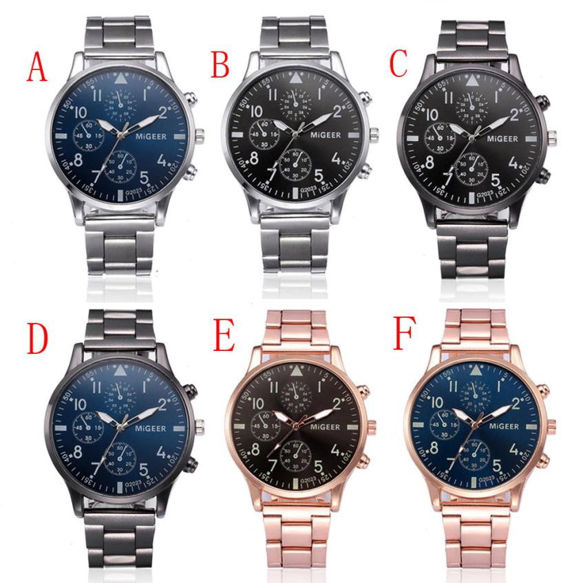 Fashion Men Crystal Stainless Steel Analog Quartz Wrist Watch Bracelet men's watches analog quartz male watches luxury Hours