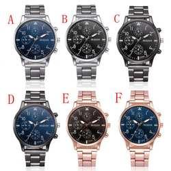 Модные для мужчин кристалл нержавеющая сталь Аналоговые кварцевые наручные часы браслет мужские часы аналоговые кварцевые